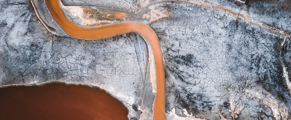 Aerial view of contaminated river