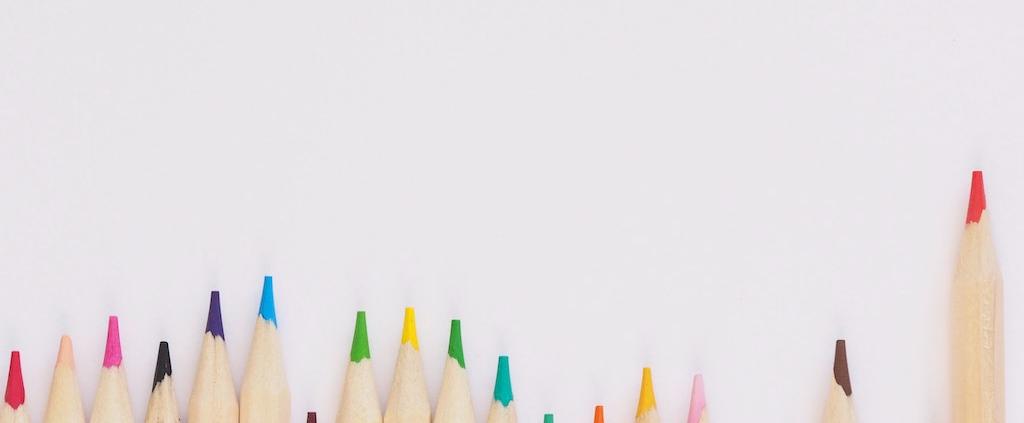 A row of coloured pencils
