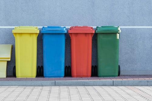 colourful bins