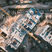 Aerial view of building construction in a city