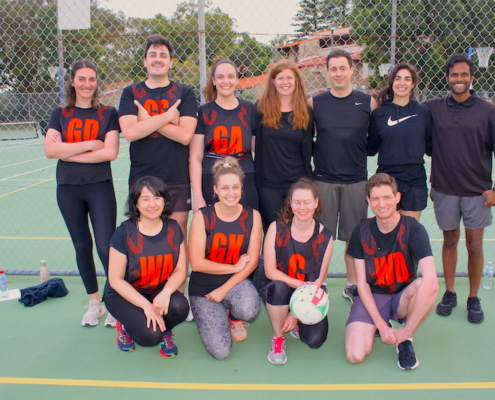 Team photo of the team Policy Makers with Chelsea White, Daniel Morey and Emiko Watanabe of Glen McLeod Legal with teammates from Torrens Legal, Solomon Brothers and the Law Society of WA