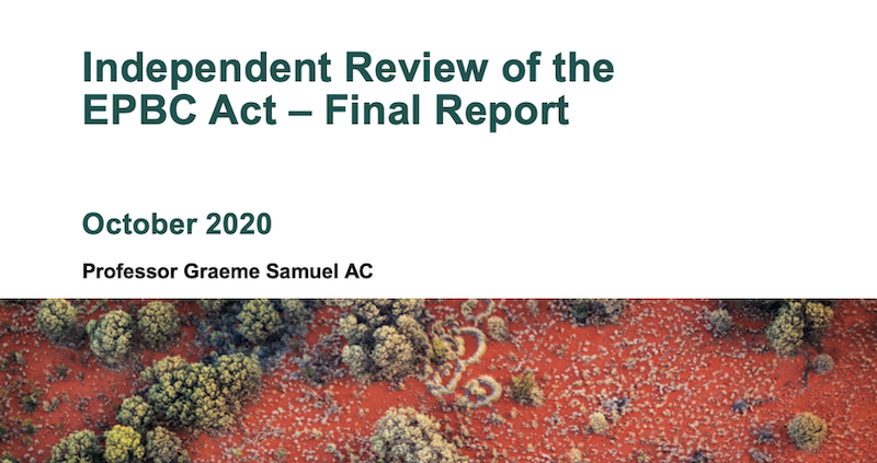 Cover of the final report of the Independent Review of the EPBC Act