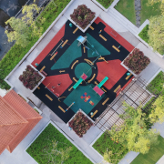 Aerial view of a colourful playground