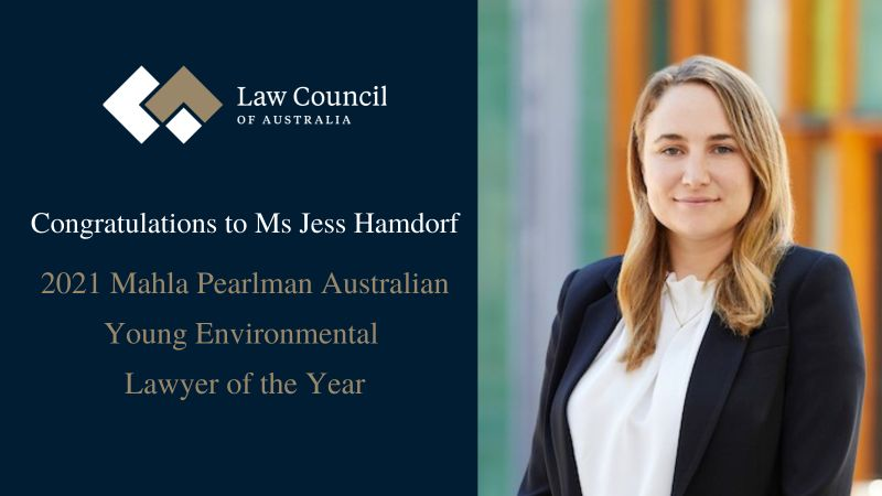A photo of Jess Hamdorf smiling and wearing a black blazer and white top with Northbridge in the background. Her photo is next to a block of text with the Law Council of Australia logo and text congratulating Jess